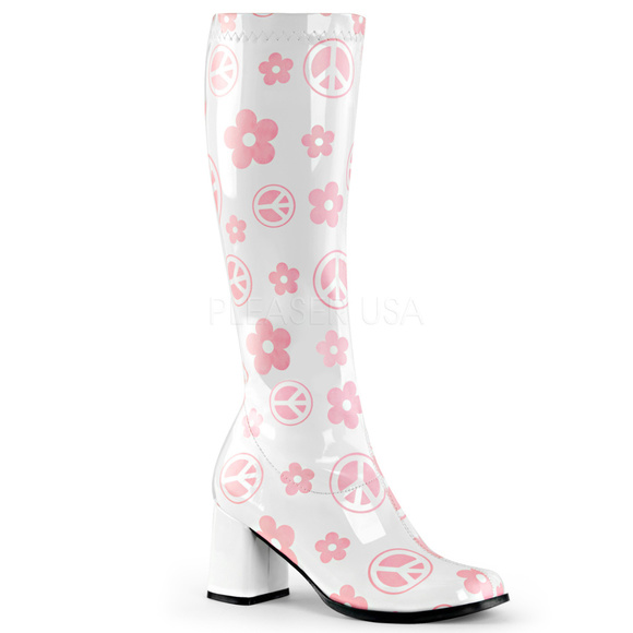142a036d827 High Heel Gogo Knee Boots Stretch Boho Hippie
